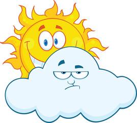 Happy Sun Smiling Behind A Sad Cloud Cartoon Mascot Characters