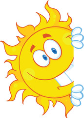Smiling Sun Looking Around A Sign Cartoon Mascot Character