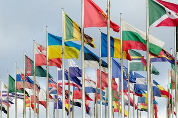 Flaggenparade, Nationalflaggen vieler Länder