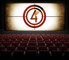 Movie Screen countdown in old retro cinema