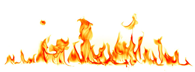 Fire flames isolated on white background Wall mural