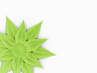 Green flower concept on white