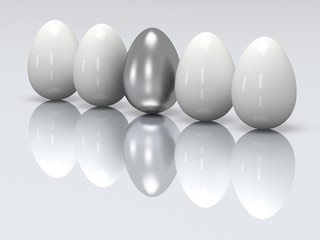 Steel egg in a row of the white eggs. 3D.