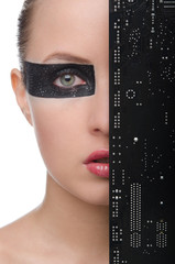 Woman with motherboard on face