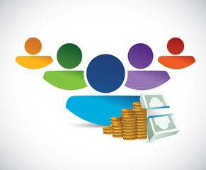avatar and money illustration design