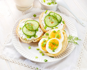 Fresh canapes with egg, cottage cheese, cucumber and herbs