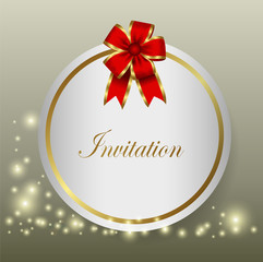red ribbon and invitations
