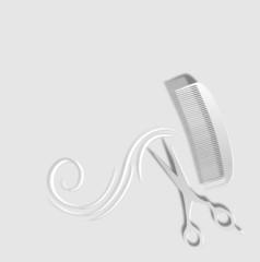 Frisör Emblem in grau