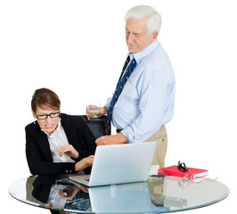 Fototapeta Portrait of old man harassing young woman at workplace obraz