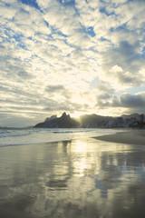 Rio de Janeiro Ipanema Beach Scenic Sunset Reflection