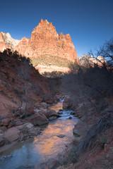River Flows Sunrise Glow Rocky Butte Zion National Park