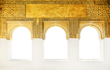 Fototapete - Windows at the Alhambra isolated on white, Granada, Spain.