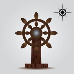 nautical wood rudder eps10