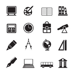 Silhouette School and education icons