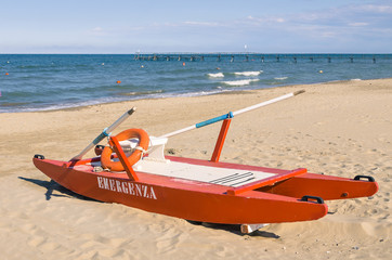 Italian lifeguard rescue rowboat - Rimini Beach