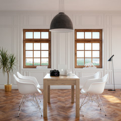Elegance Dining Room With Classic Wooden Table And Cozy Chairs