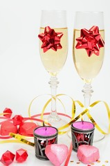 The festive mood of Valentine's Day with champagne