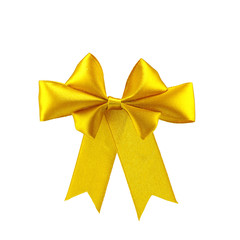 isolated image of a yellow bow on white background