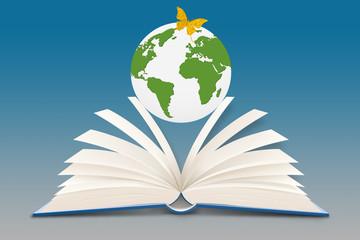Buch mit Globus
