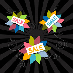 Sale Titles on Abstract Leaves Background