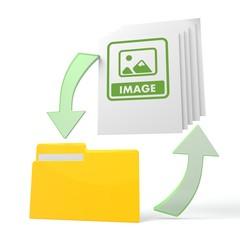 work flow file folder with image symbol