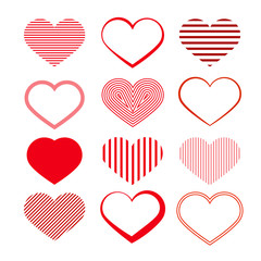 Heart Set. Red Valentine Symbols.