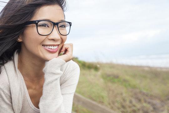 Chinese Asian Woman Wearing Glasses