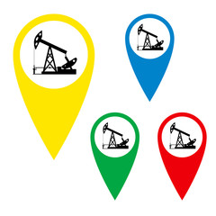 The silhouette of the oil pump on a map marker.
