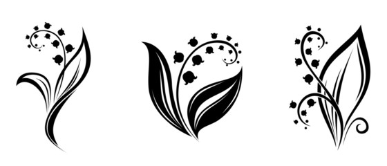 Lily of the valley flowers. Vector black silhouettes.