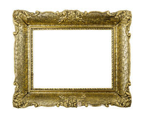 Old golden vintage picture frame isolated on white background