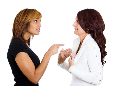 Two angry upset women having arguments frustrated