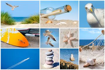 Wall Mural - Collage mit Motiven Meer, Strand und Urlaub