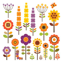 set of isolated flowers in retro colors