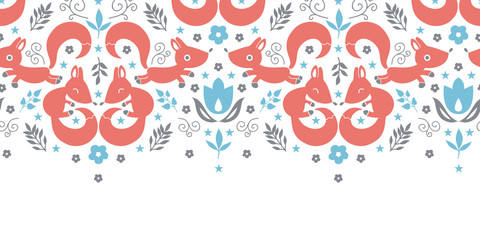 vector cute foxes horizontal seamless pattern background
