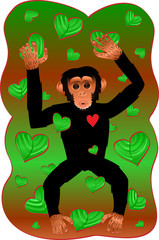 Chimp With Heart Shaped Leaves