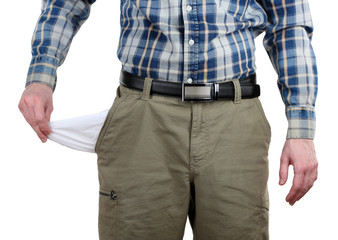 Man showing his empty pocket isolated on white