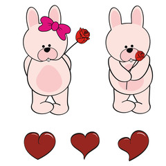 bunny baby cartoon set