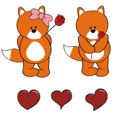 fox cute baby vector set