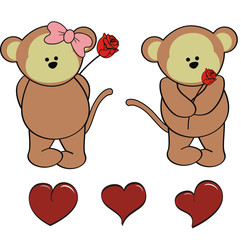 monkey baby cute cartoon set