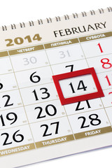Calendar page with red frame on February 14 2014.