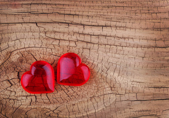 Love. Red Hearts on Wooden background. Valentines Day. Macro