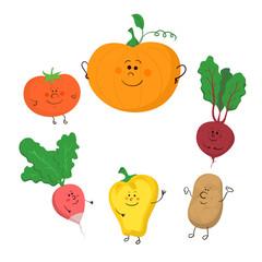 Cute funny vegetables vector set