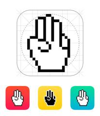 Three fingers. Pixel hand cursor icon.