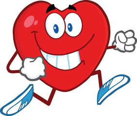 Smiling Heart Cartoon Mascot Character Running