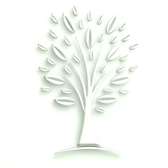 3D Illustration White Tree