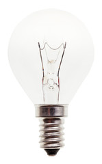 usual transparent incandescent light bulb