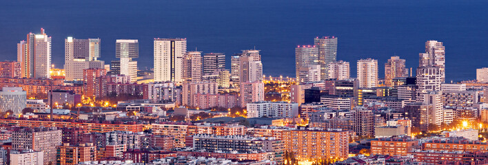 Aerial view of financial district in Barcelona at Blue Hour