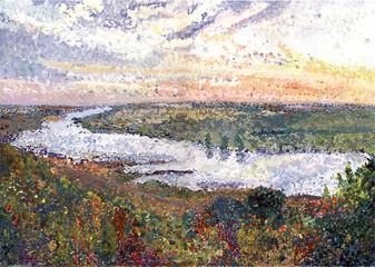 Landscape with a Tom river in Siberia. Gouashe picture.