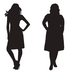 silhouettes of two girls thick and slender