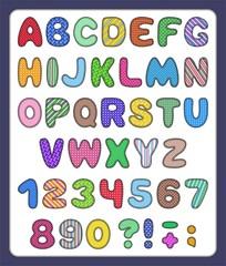 Set of patchwork abc alphabet and number symbols
